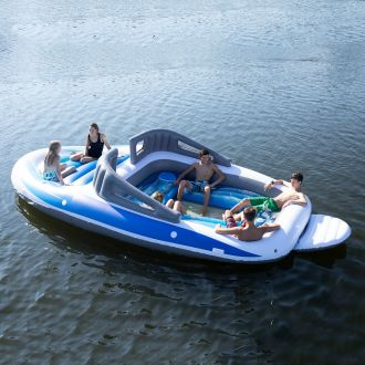 Pływająca wyspa dmuchana materac Motorówka 6 osób