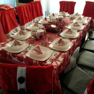 Pokrowiec na krzesło fotel strój Świętego Mikołaja Święta Komplet